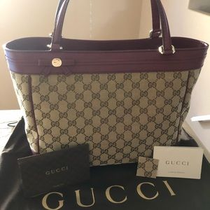 GUCCI Magenta Canvas/Leather Mayfair Tote
